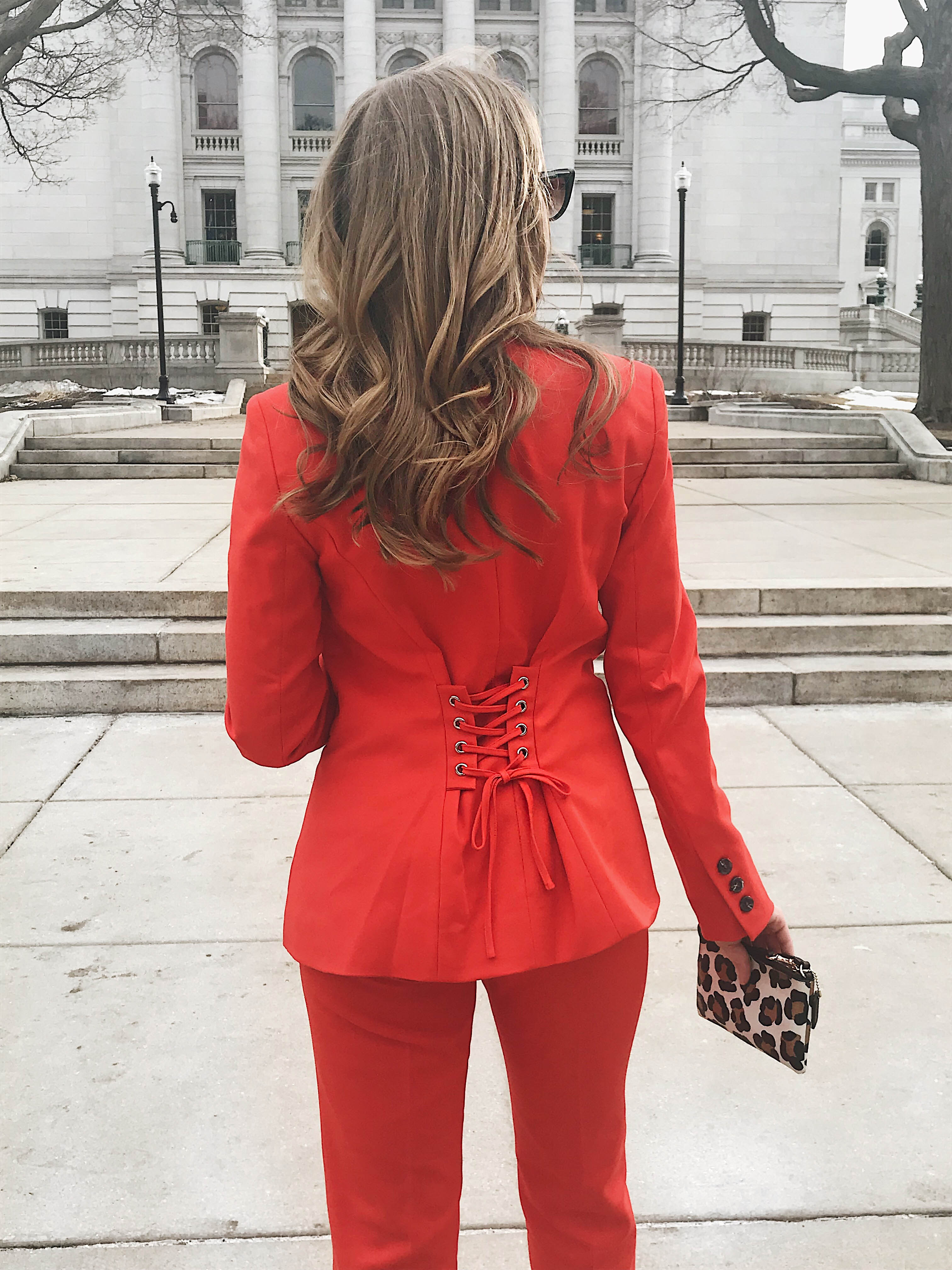 Red Power Suit for the UW Fashion Show